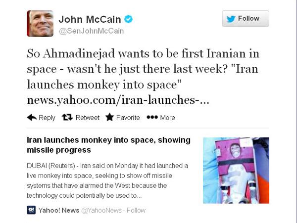 """""""جون ماكين"""" يُثير ردود أفعال"""