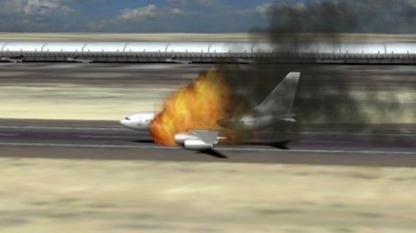 احتراق طائرة إيرانية مطار دمشق