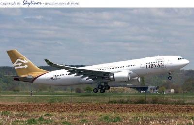 هبوط طائرة الخطوط الجوية الليبية