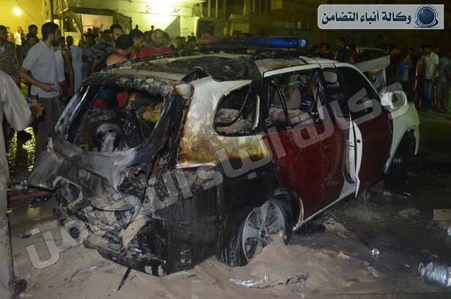 انفجار سيارة تابعة لوزارة الداخلية